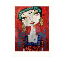 Frida and her blue chair Art Print