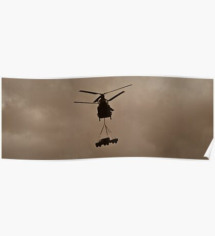 Chinook helicopter with 4x4 Poster