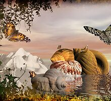 Seashells & butterflies island  by Fiery-Fire