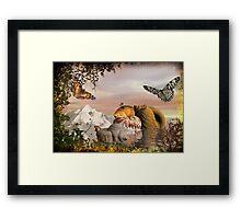 Seashells & butterflies island  Framed Print