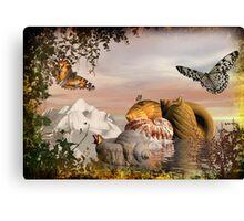 Seashells & butterflies island  Canvas Print