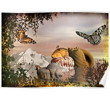 Seashells & butterflies island  Poster