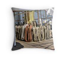 Ropes of sailing Vessel - Antwerp - Belgium Throw Pillow