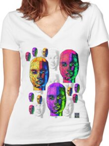 """""""Female Wireframe Heads""""© Women's Fitted V-Neck T-Shirt"""