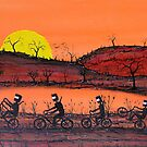 Ned Kelly's Sunset Ride; Original Australian Acrylic Painting; SOLD by EJCairns