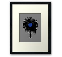 Melting Vinyl Records Vintage Blue Art Framed Print