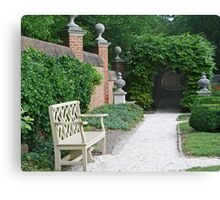 Formal Garden with Bench Canvas Print