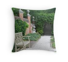 Formal Garden with Bench Throw Pillow