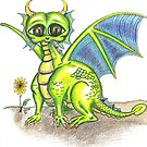 Green Big Eyed Baby Dragon  by Vicki Noble