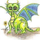 Green Big Eyed Baby Dragon  by Vicki Bower