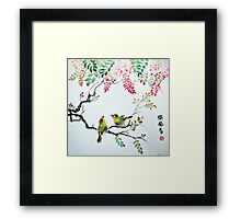 Wisteria and Two Birds Framed Print