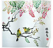 Wisteria and Two Birds Poster