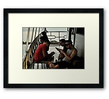 Distracted....(The Ferry - Candid #2) Framed Print