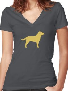 Yellow Labrador Retriever Silhouette Women's Fitted V-Neck T-Shirt