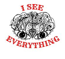 I See Everything - Black and Red  Photographic Print