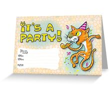 It's a party - Invitation with jumping cat. Greeting Card