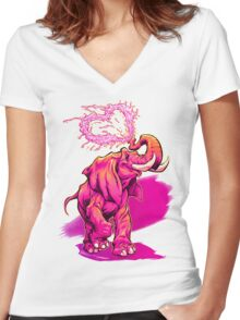 ELEFFECTION Women's Fitted V-Neck T-Shirt