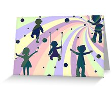 children, rays and bubbles Greeting Card