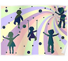 children, rays and bubbles Poster