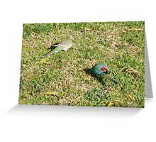 Grass Parrots Greeting Card