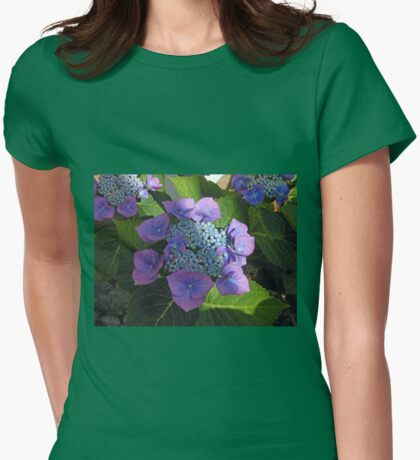 Lace Cap Hydrangea Blossom in Dappled Light Womens Fitted T-Shirt
