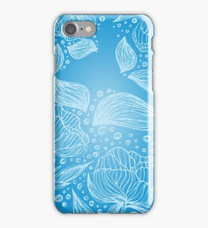 Abstract Beautiful Floral Seamless Illustrated Pattern Vector Art Blue Background iPhone Case/Skin