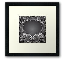 Abstract Beautiful Floral Seamless Illustrated Pattern Vector Art Black Background Framed Print
