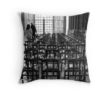 Leaving god Throw Pillow