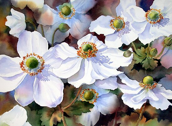 Autumn Anemones by Ann Mortimer