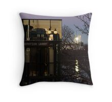 the wharf and the 'g' Throw Pillow