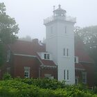 40 Mile Point Light Station in the Fog by BarbL
