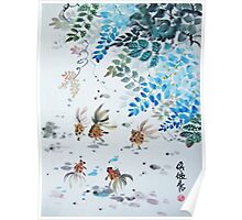 Five Gold Fishes Under The Wisteria Tree Poster