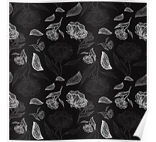 Abstract Beautiful Floral Seamless Illustrated Pattern Vector Art Black Background Poster