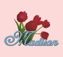 Madison With Red Tulips and Neon Blue Script by ThePixelFrame