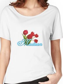 Madison With Red Tulips and Neon Blue Script Women's Relaxed Fit T-Shirt