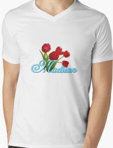 Madison With Red Tulips and Neon Blue Script T-Shirt