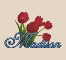 Madison With Red Tulips and Cobalt Blue Script by ThePixelFrame