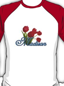 Madison With Red Tulips and Cobalt Blue Script T-Shirt