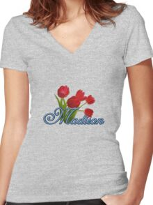 Madison With Red Tulips and Cobalt Blue Script Women's Fitted V-Neck T-Shirt