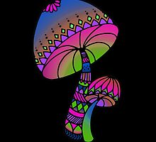 Shrooms - pink/blue/green/purple by hartzelldesign