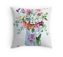 Phlox and Hydrangeas Throw Pillow