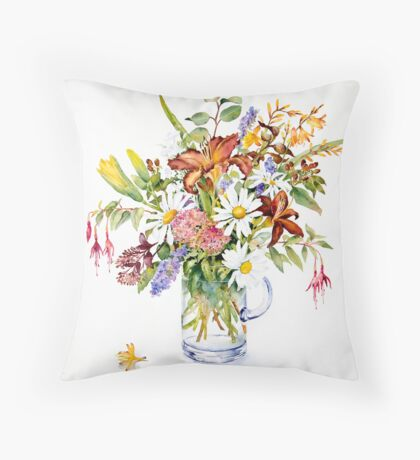 Daisies and Day lilies Throw Pillow