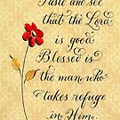 Comforting Psalm 34 handwritten verse with red daisy by Melissa Goza
