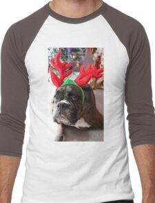Reindeer This Year?...... Anything For That Cookie! - Boxer Dogs Series Men's Baseball ¾ T-Shirt
