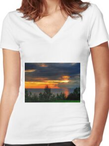 Ominous Morn Women's Fitted V-Neck T-Shirt