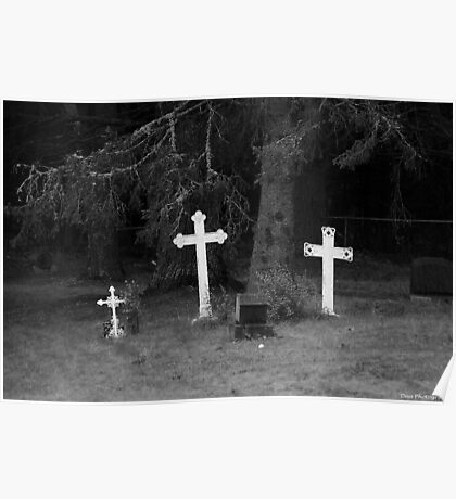 very old graves, black and white Poster