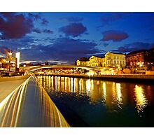 Bilbao Blue Hour - University of Deusto and the river Nervion Photographic Print