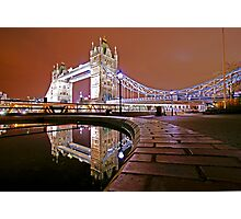 Reflections of Tower Bridge - London Night Photographic Print