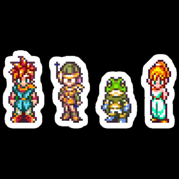 Chrono, Lucca, Frog, Marle by shikijiyu
