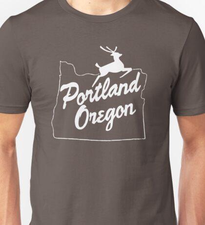 Portland Oregon Sign in White Unisex T-Shirt